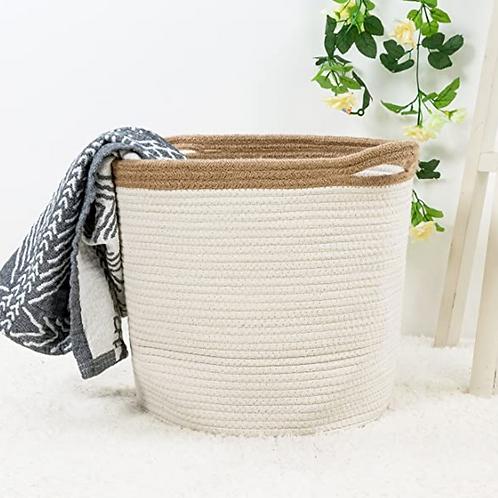 "Goodpick 15"" x 12.6"" x 11.8"" Large Cotton Rope Basket - Woven Storage Basket - B"