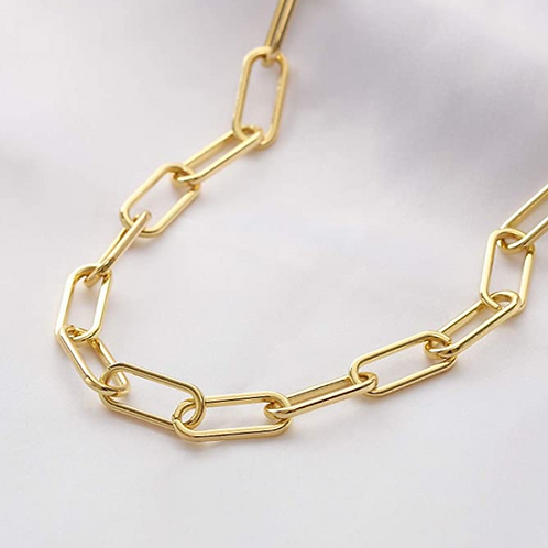 8K Real Gold Plated Link Chain Necklace Bracelets for Women Oval Rectangle Chain