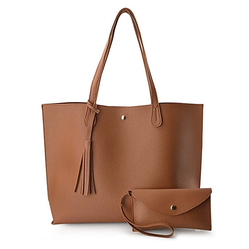 Minimalist Clean Cut Pebbled Faux Leather Tote Shoulder Handbag