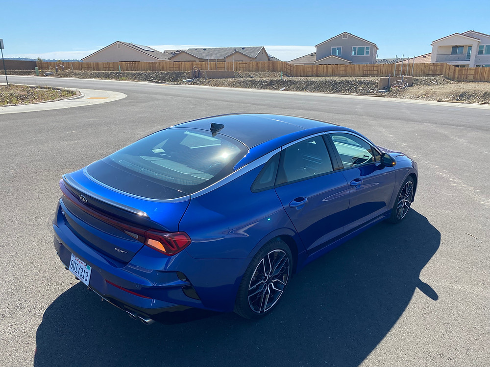 2021 Kia K5 GT rear 3/4 view