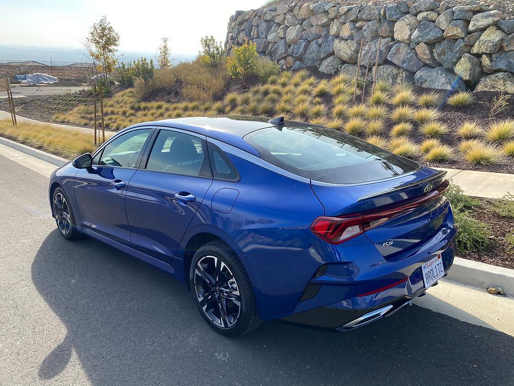 2021 Kia K5 GT-Line rear 3/4 view