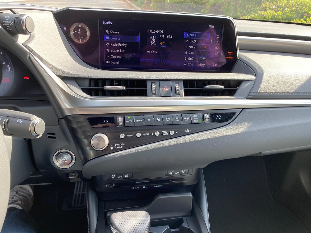 2021 Lexus ES350 F SPORT infotainment and HVAC
