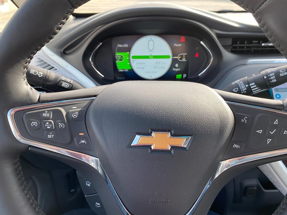 2020 Chevrolet Bolt EV Premier steering wheel and gauge cluster