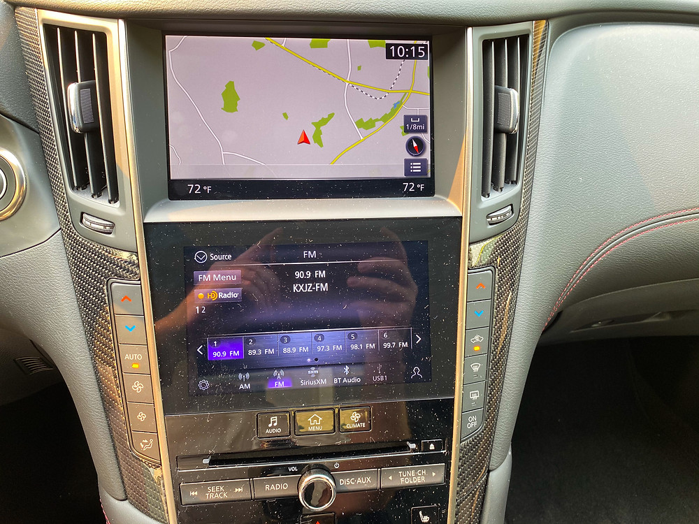 2020 Infiniti Q60 Red Sport 400 AWD infotaiment and HVAC