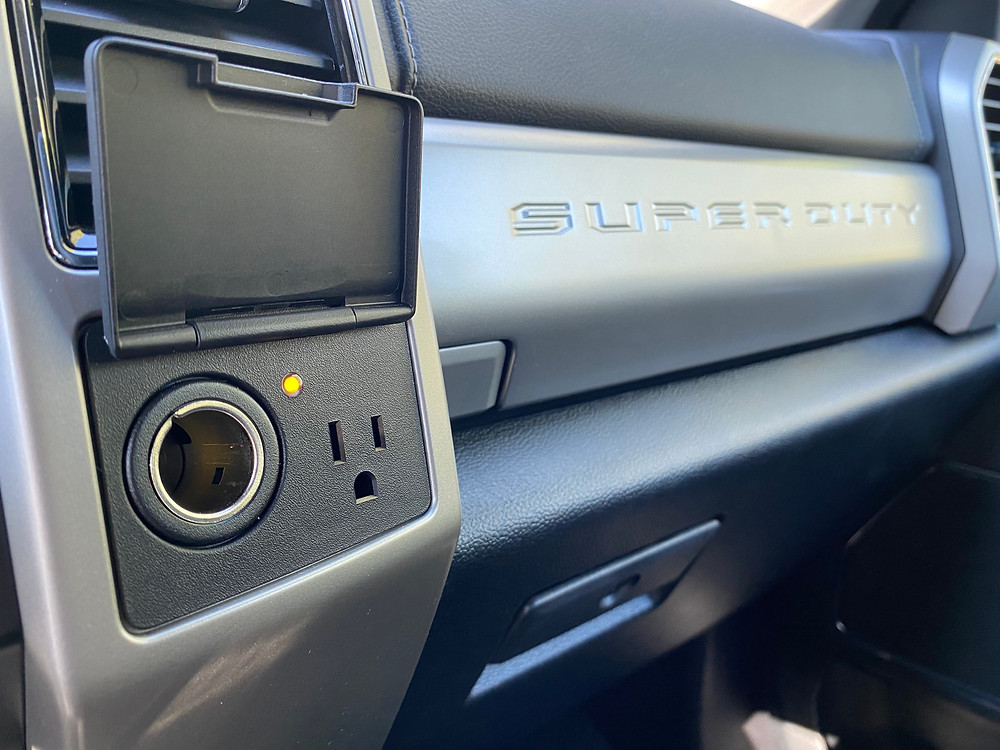 2021 Ford F-250 Tremor power outlets and nameplate