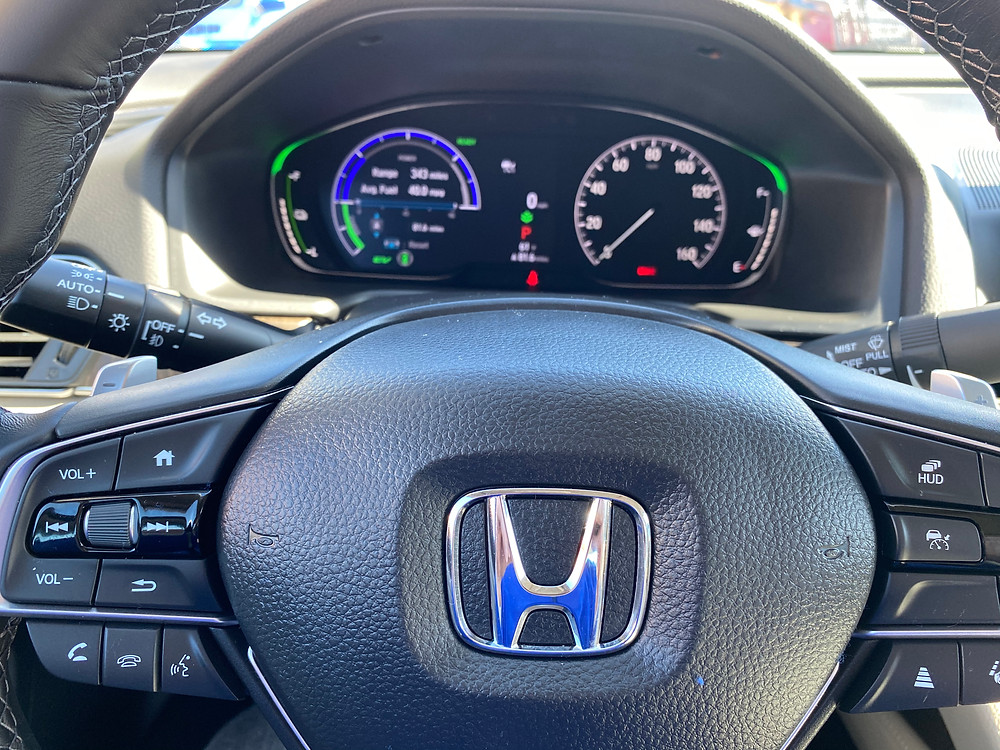 2021 Honda Accord Hybrid Touring steering wheel and gauge cluster