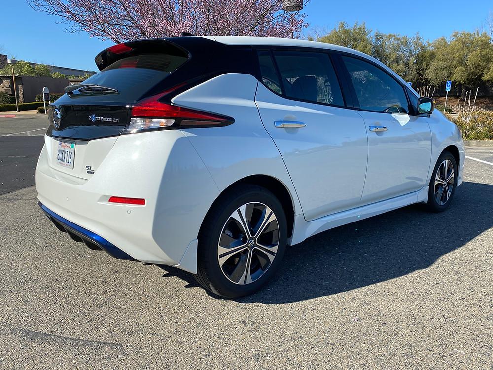 2021 Nissan Leaf SL Plus rear 3/4 view