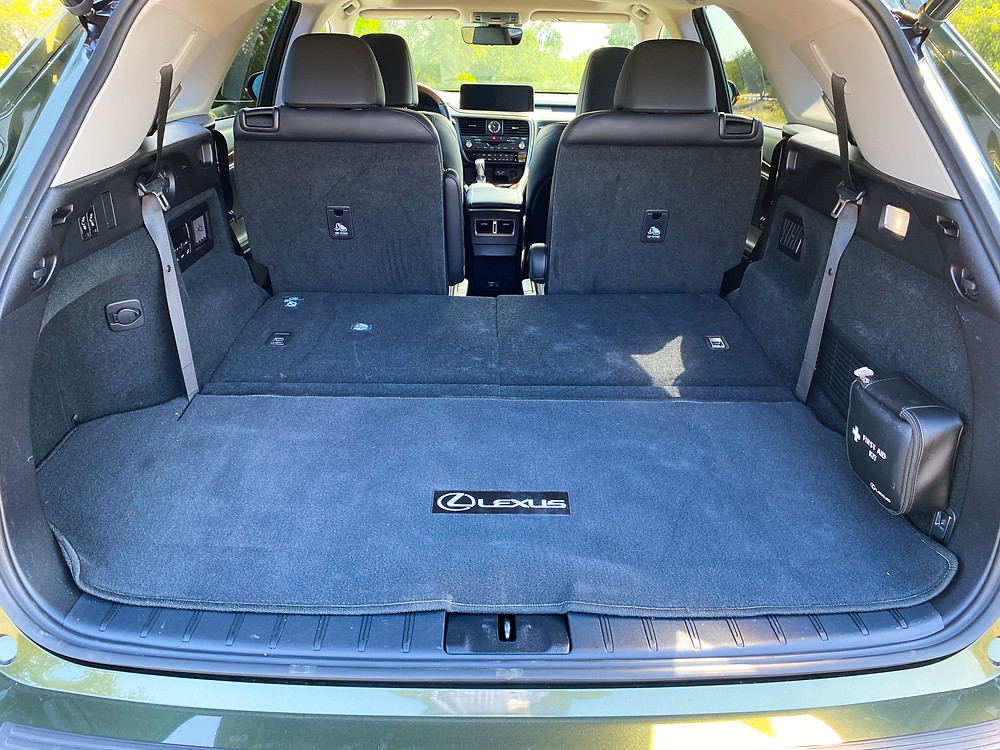 2020 Lexus RX 450hL cargo area with third-row seats folded