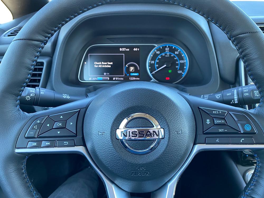 2021 Nissan Leaf SL Plus steering wheel and gauge cluster
