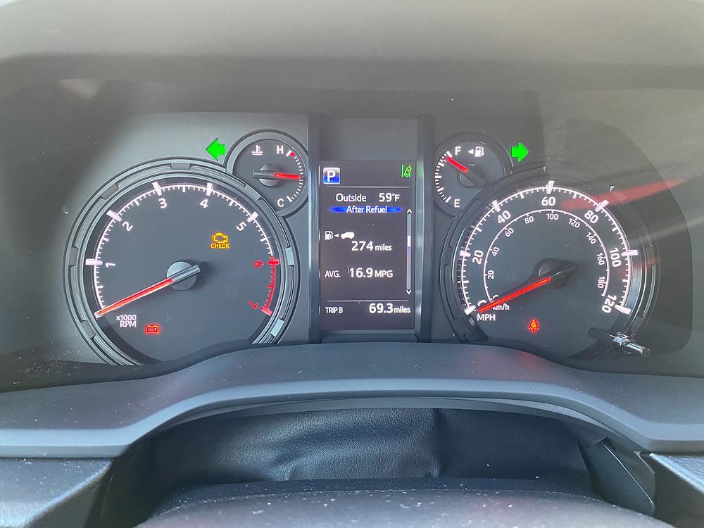 2021 Toyota 4Runner 4x4 Trail gauge cluster.