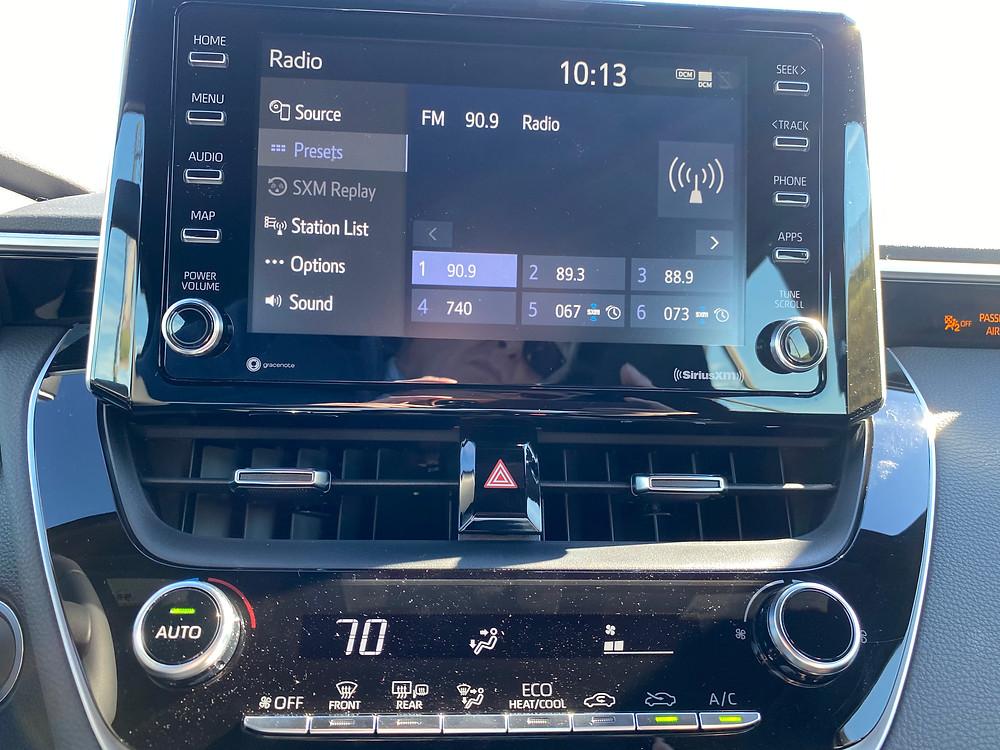2021 Toyota Corolla Hatchback SE Nightshade infotainment and HVAC
