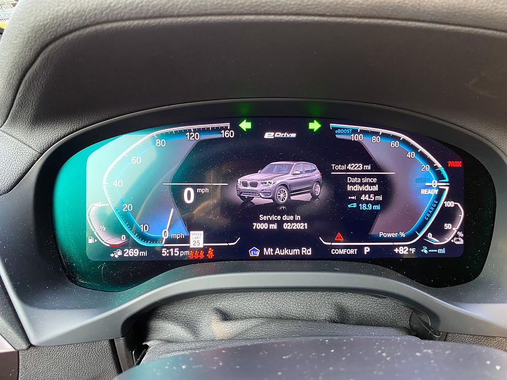 2020 BMW X3 xDrive30e gauge cluster