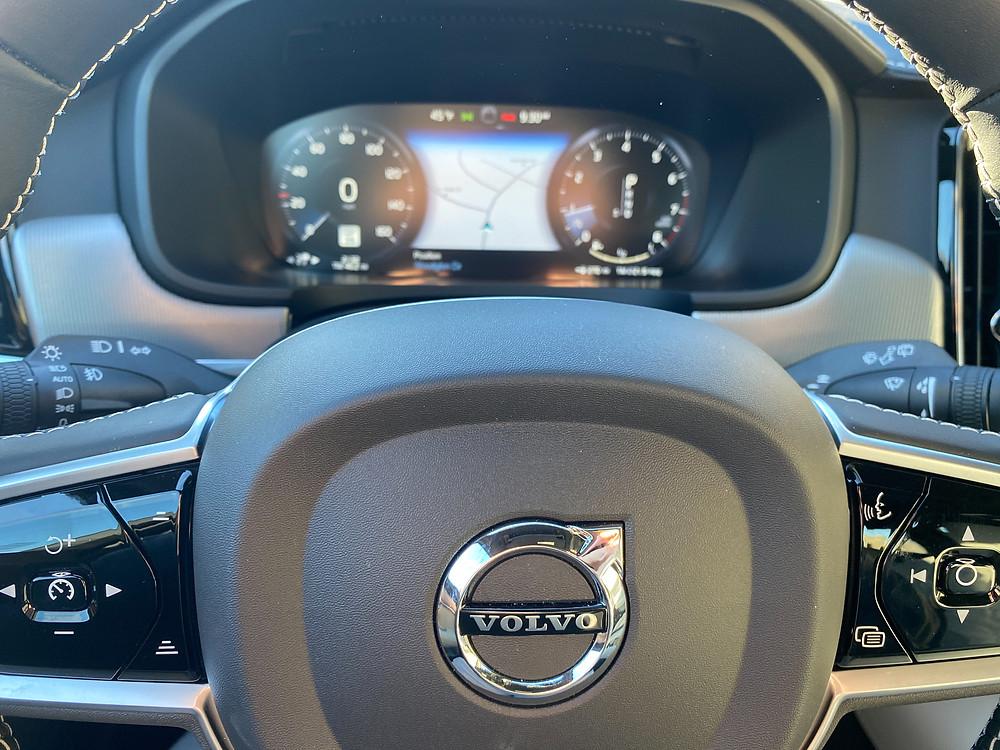 2021 Volvo V90 T6 AWD R-Design steering wheel and gauge cluster