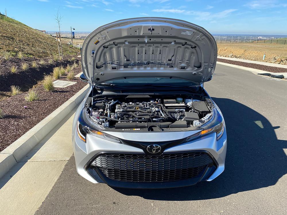 2021 Toyota Corolla Hatchback SE Nightshade hood up