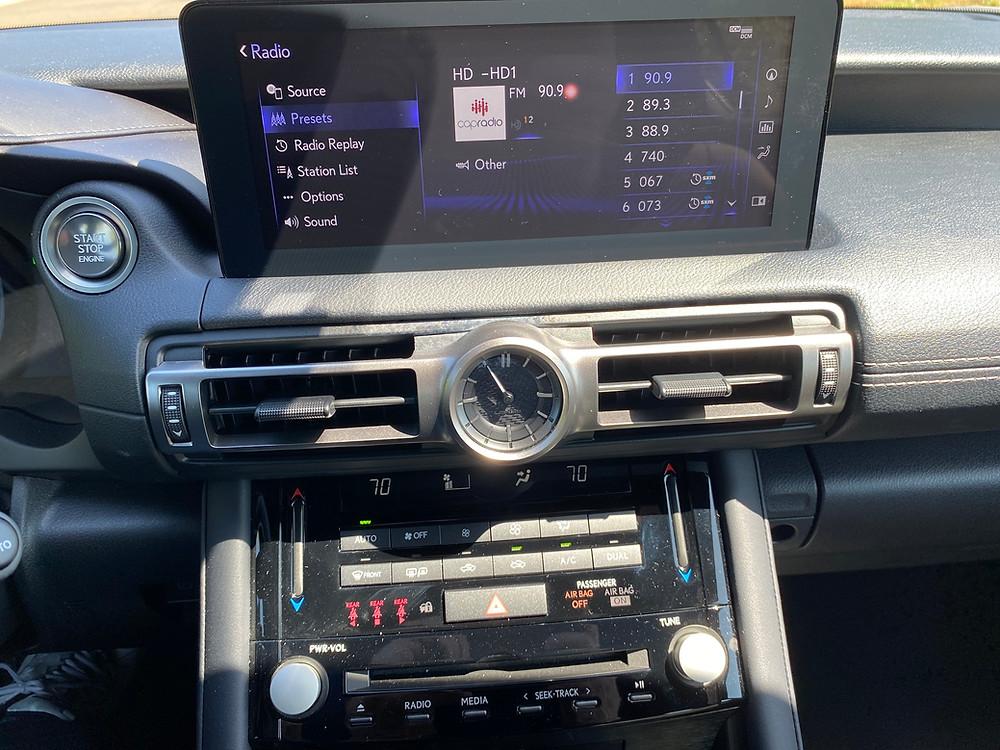 2021 Lexus IS 350 F SPORT infotainment and HVAC