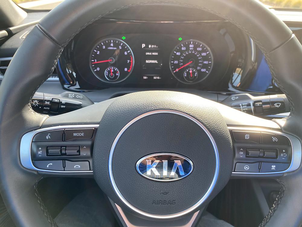 2021 Kia K5 GT-Line steering wheel and gauge cluster