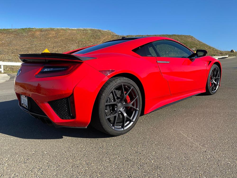 2020 Acura NSX rear 3/4 view