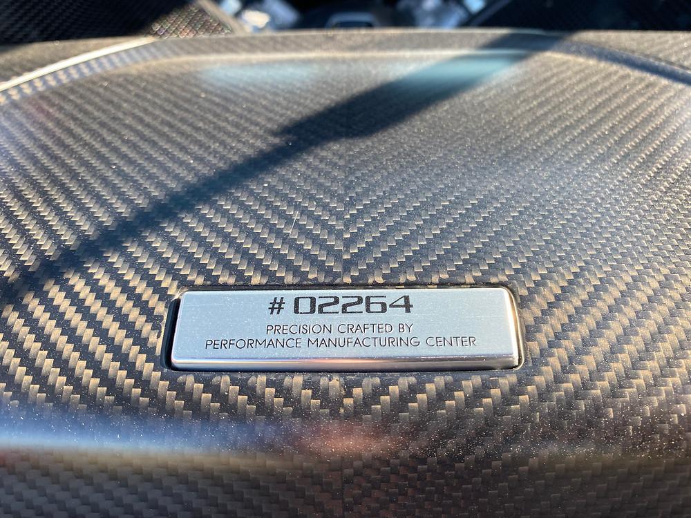 2020 Acura NSX engine plaque