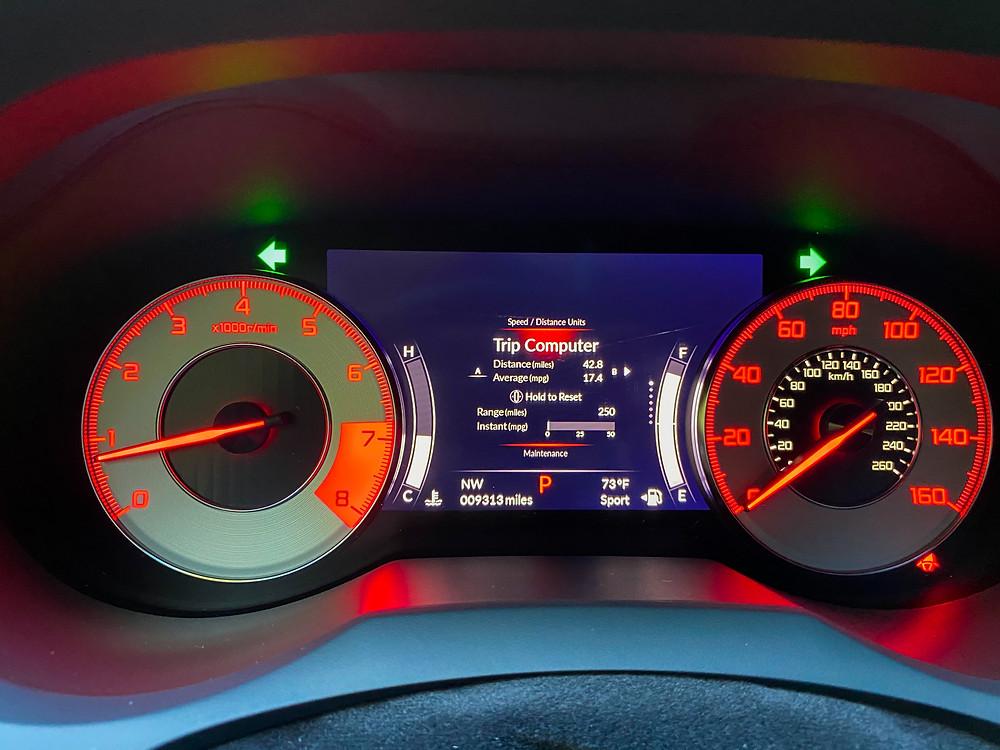 2020 Acura RDX SH-AWD A-Spec gauge cluster