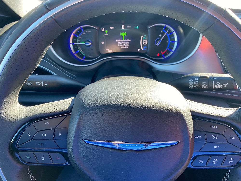 2021 Chrysler Pacifica Hybrid Limited Red S steering wheel and gauge cluster