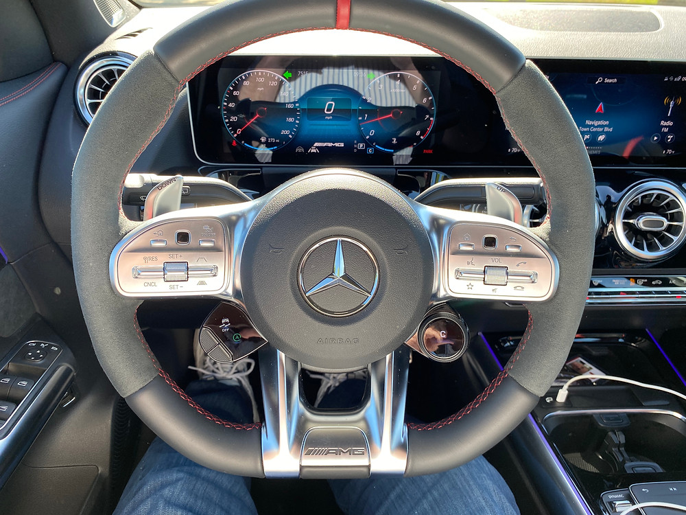 2021 Mercedes-AMG GLA45 4MATIC+ steering wheel and gauge cluster