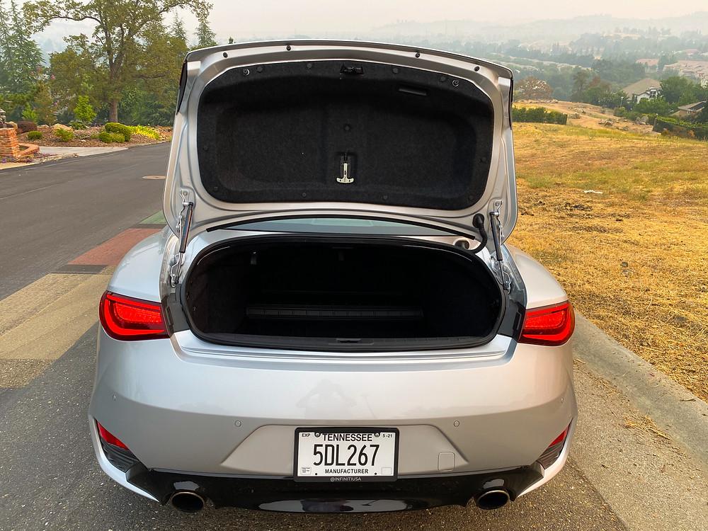 2020 Infiniti Q60 Red Sport 400 AWD trunk open