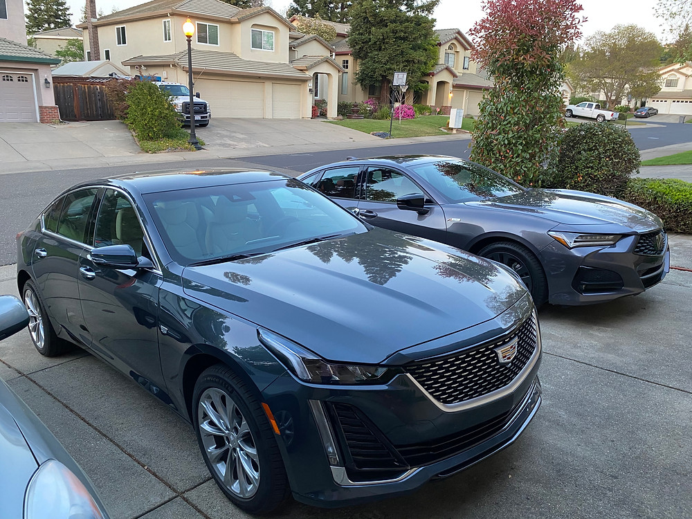 2021 Cadillac CT5 Premium Luxury and 2021 Acura SH-AWD A-SpecTLX  front 3/4 view