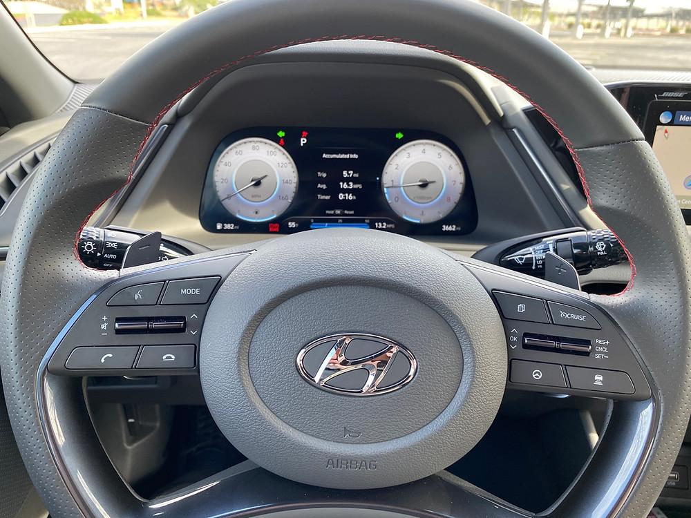 2021 Hyundai Sonata N-Line steering wheel and gauge cluster