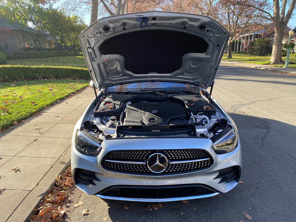 2021 Mercedes-Benz E450 4MATIC Sedan hood up