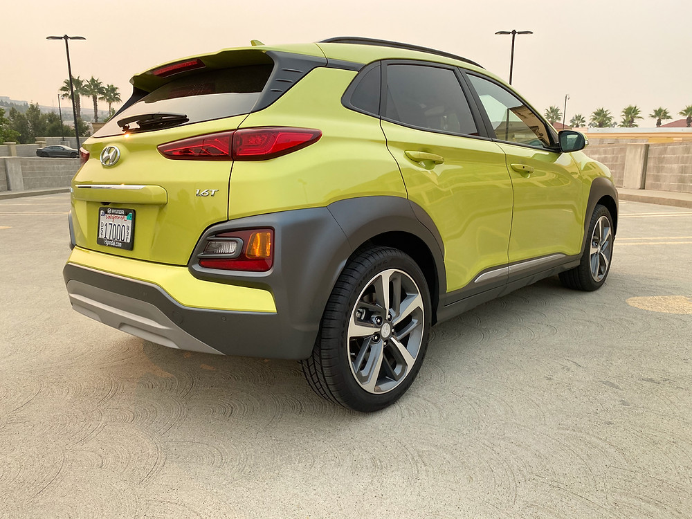 2020 Hyundai Kona Ultimate FWD rear 3/4 view