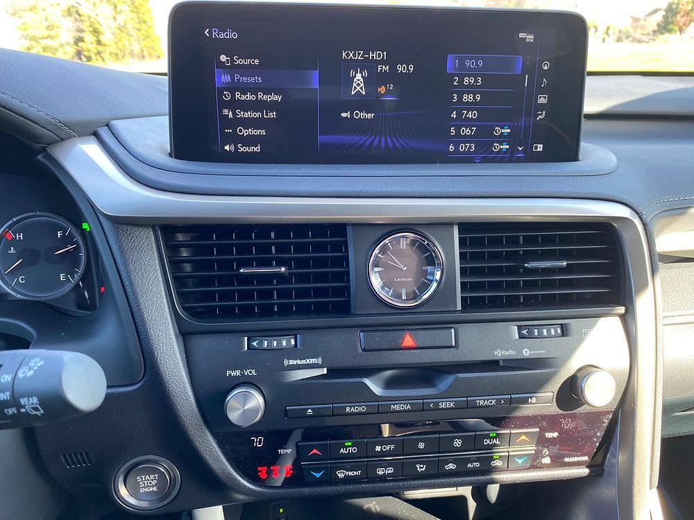 2021 Lexus RX 350 F SPORT Black Line infotainment and HVAC