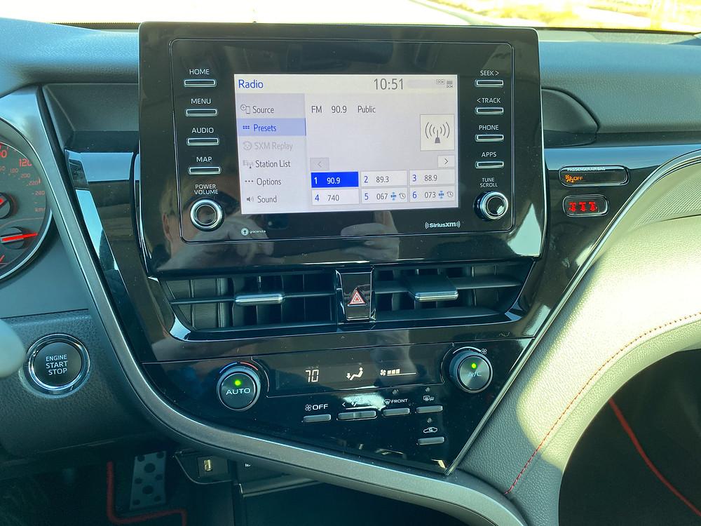 2021 Toyota Camry TRD V6 infotainment and HVAC