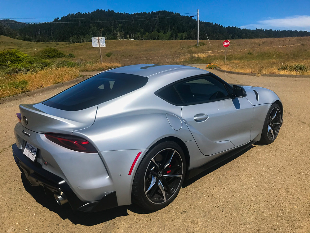 Rear 3/4 view of 2020 Toyota GR Supra 3.0