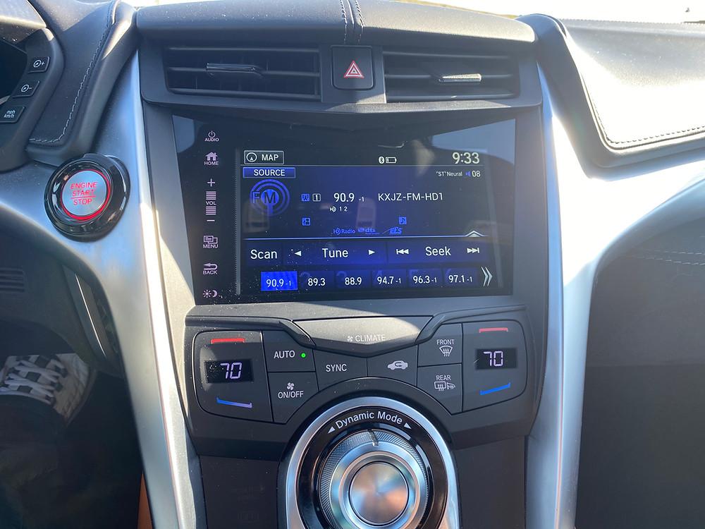 2020 Acura NSX infotainment and HVAC
