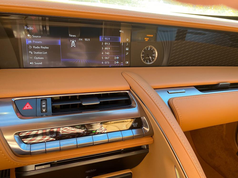 2021 Lexus LC 500 Convertible infortainment and HVAC