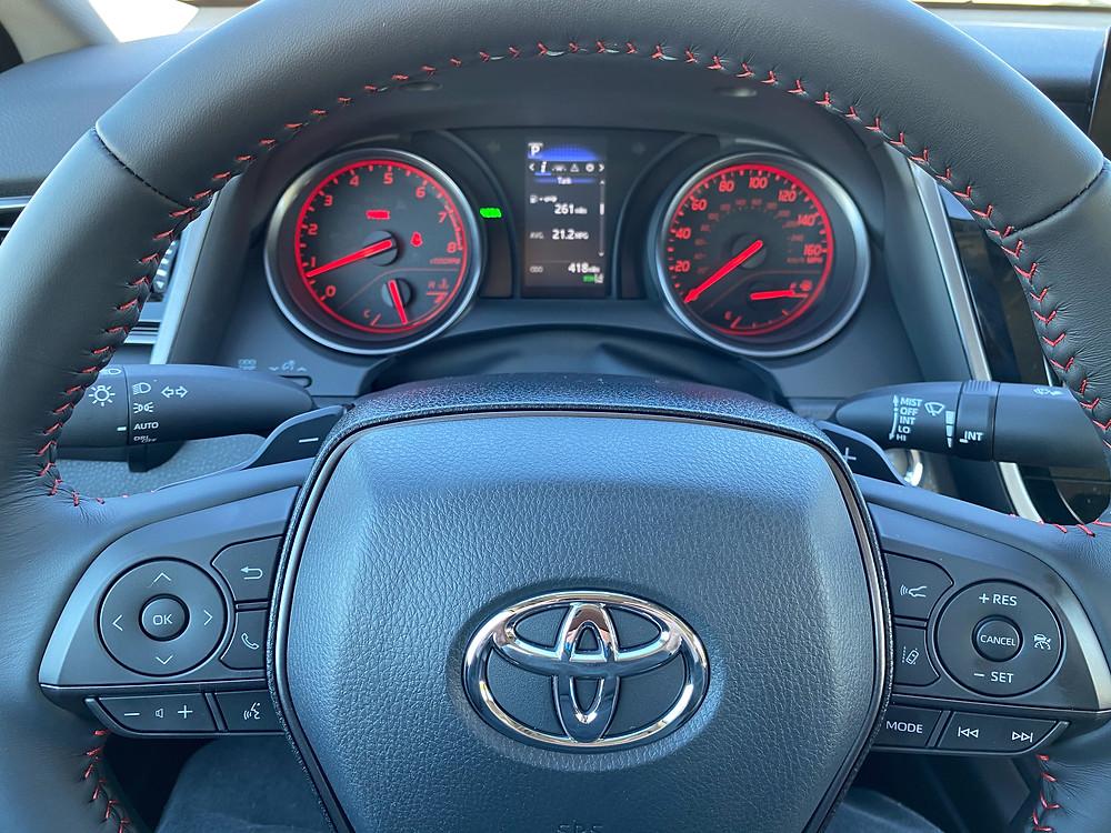 2021 Toyota Camry TRD V6 steering wheel and gauge cluster