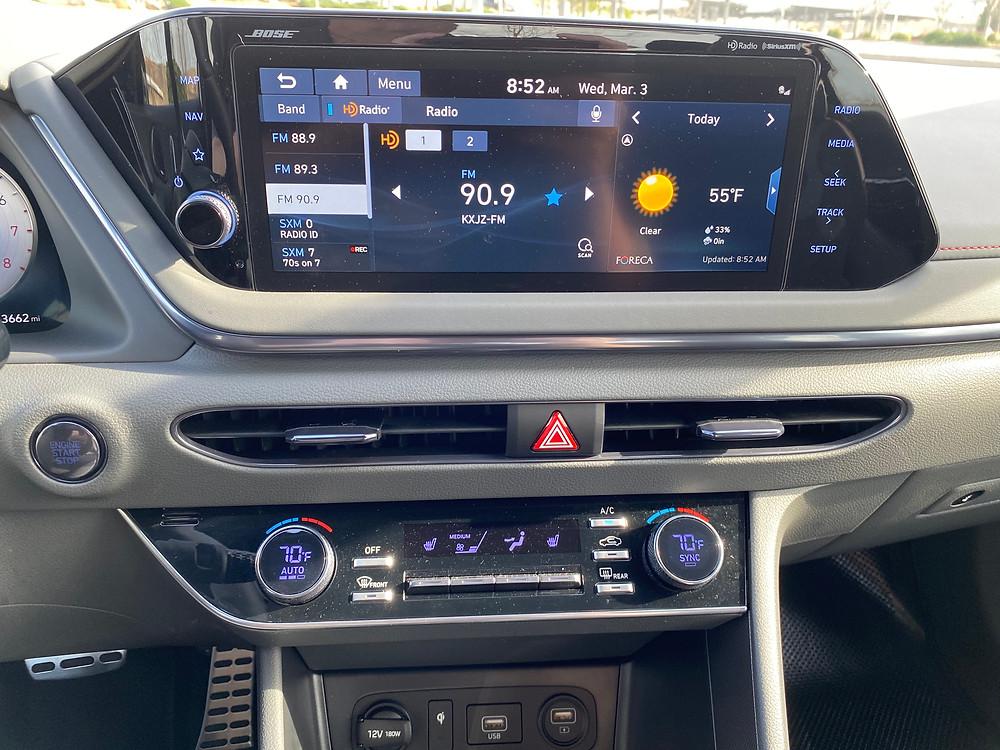 2021 Hyundai Sonata N-Line infotainment and HVAC