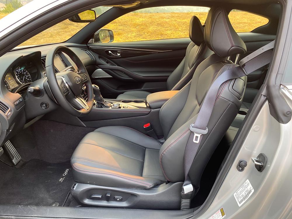2020 Infiniti Q60 Red Sport 400 AWD front seats