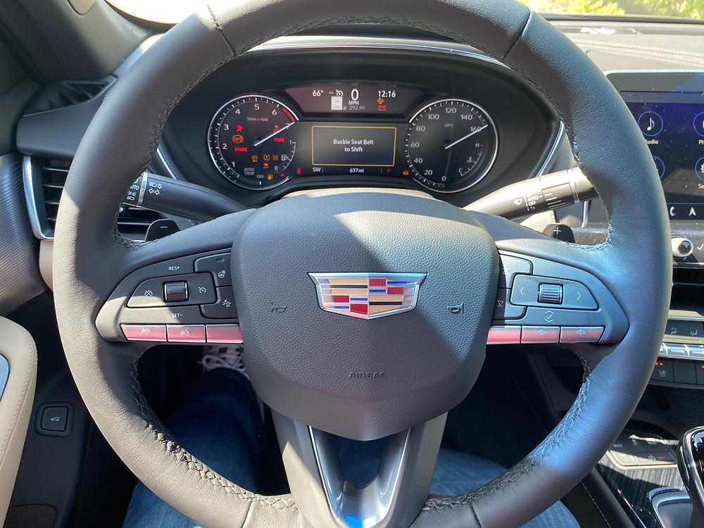 2021 Cadillac CT5 Premium Luxury steering wheel and gauge cluster