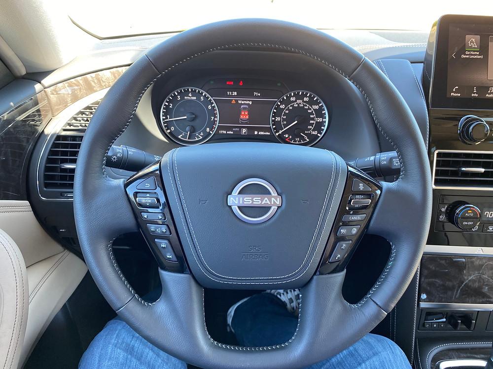 2021 Nissan Armada Platinum 4WD steering wheel and gauge cluster