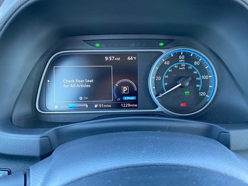 2021 Nissan Leaf SL Plus gauge cluster