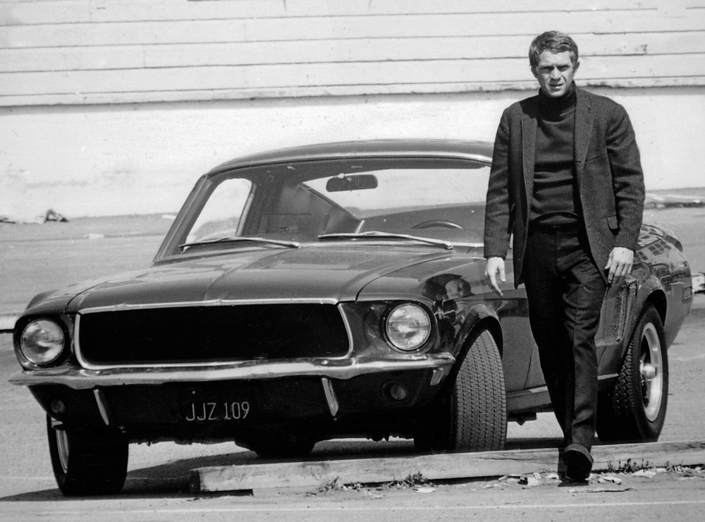 "Steve McQueen and 1968 Mustang in ""BULLITT"""