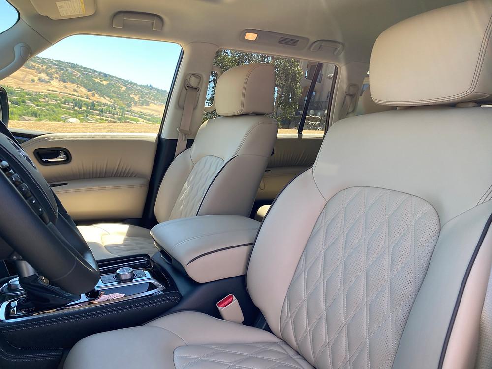 2021 Nissan Armada Platinum front seat detail