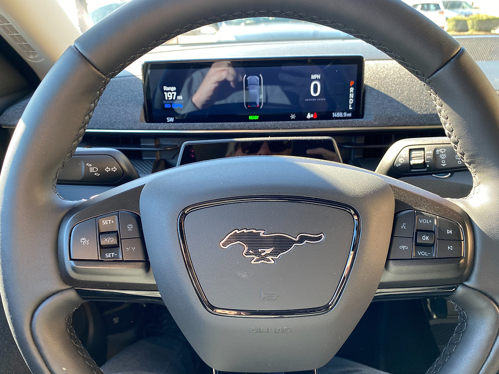 2021 Ford Mustang Mach-E steering wheel and gauge display