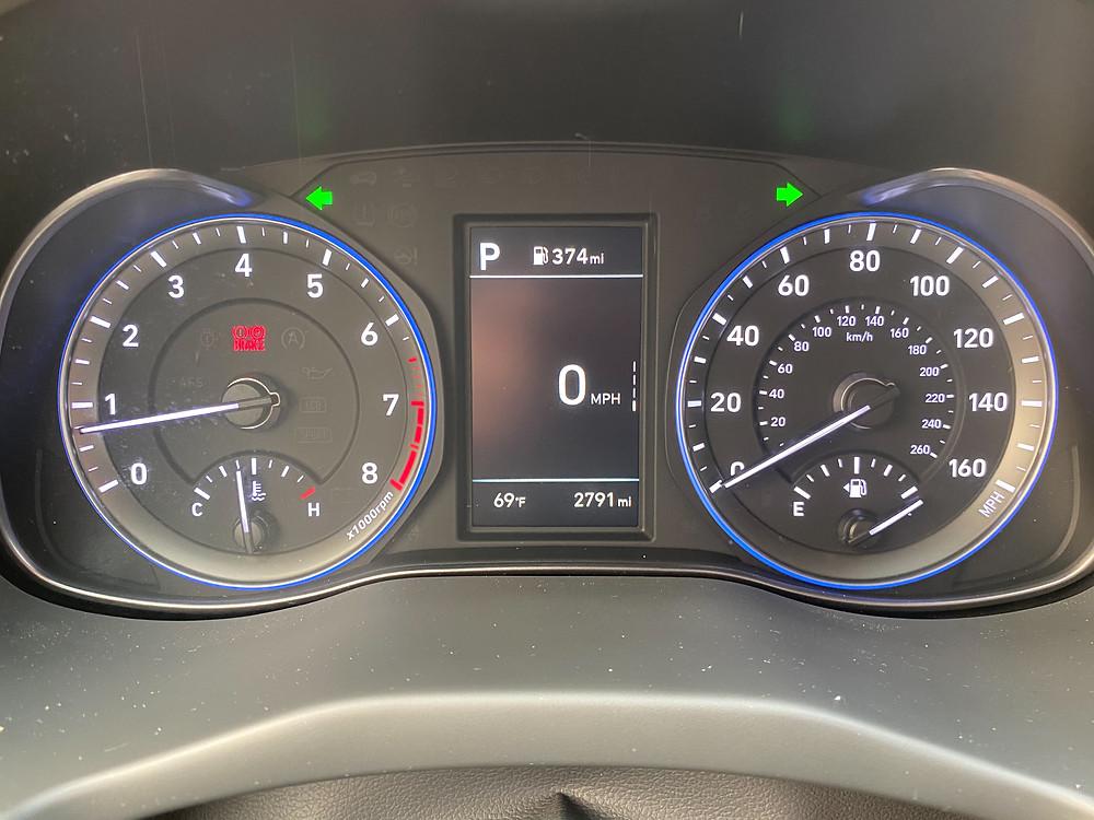2020 Hyundai Kona Ultimate FWD gauge cluster