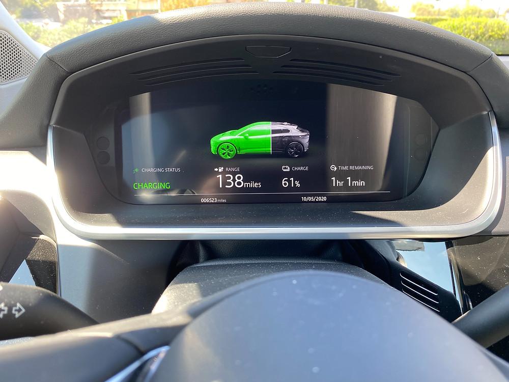 2020 Jaguar I-Pace interior charging display