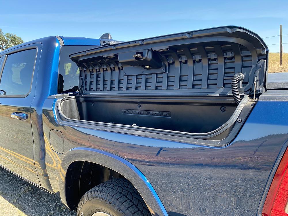 2021 RAM 1500 Laramie Crew Cab 4X4 locking bedside storage open