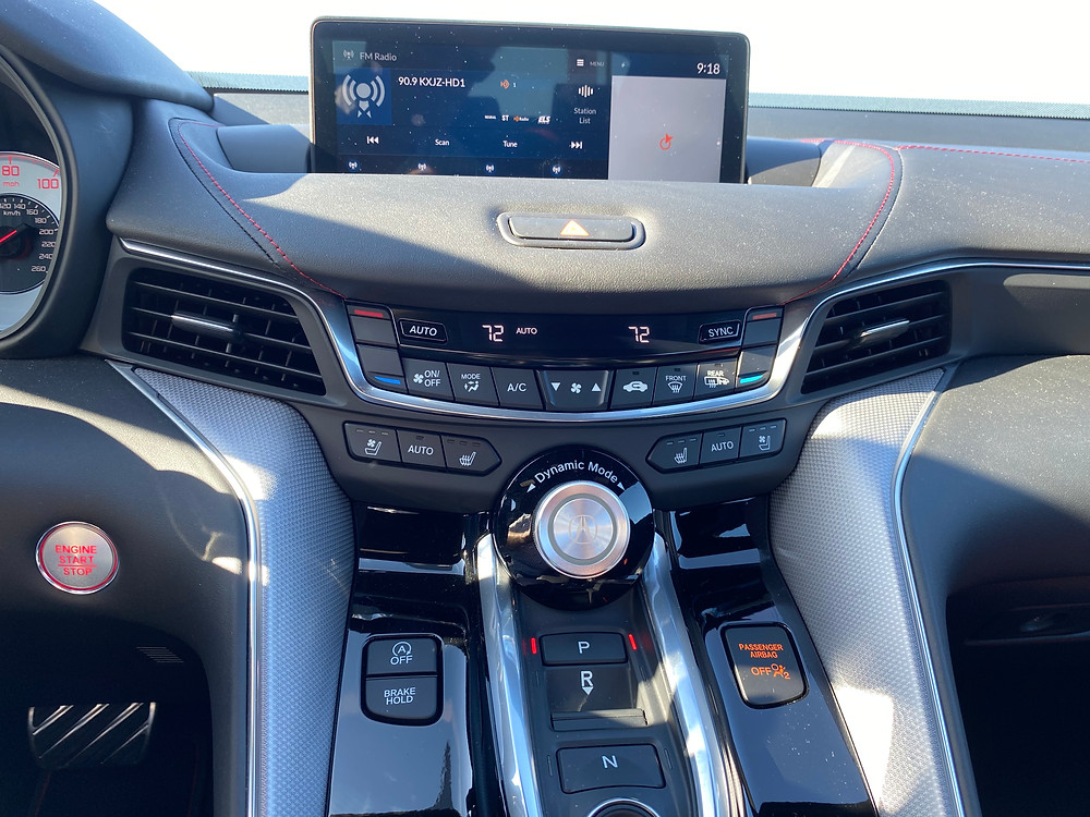 2021 Acura TLX SH-AWD A-Spec infotainment, HVAC and shifter