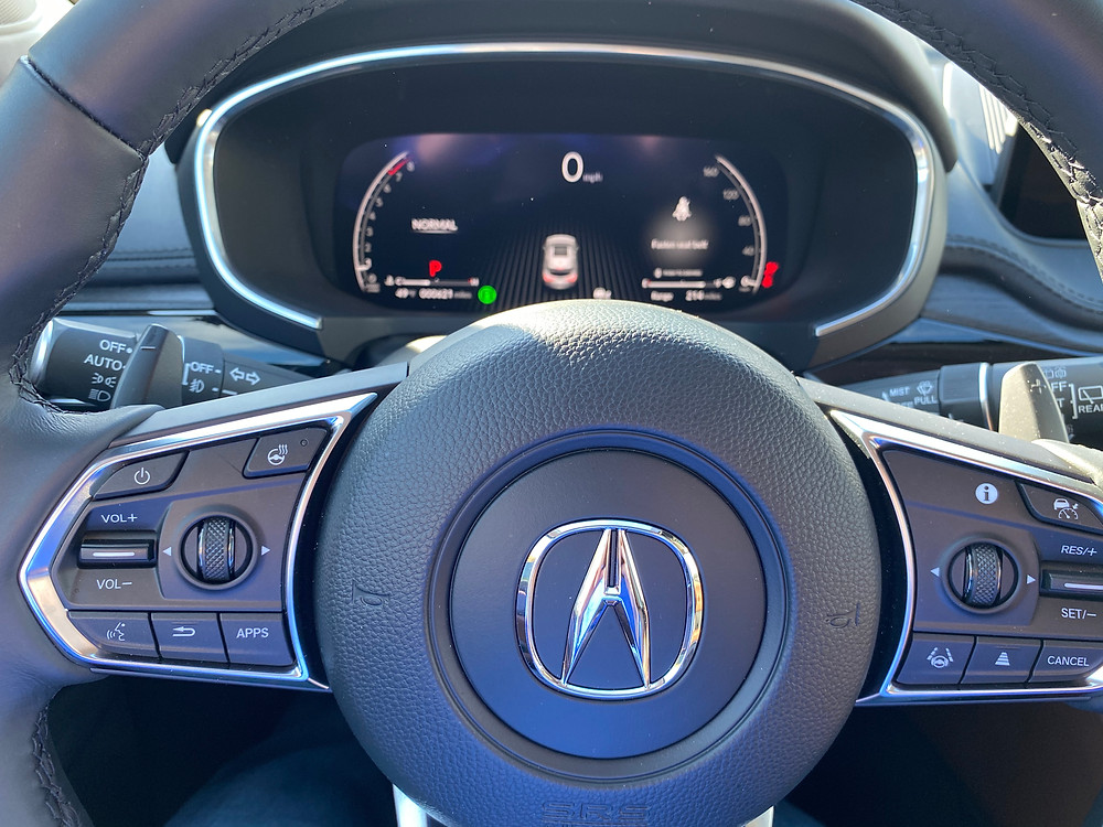 2022 Acura MDX SH-AWD Advance steering wheel and gauge cluster