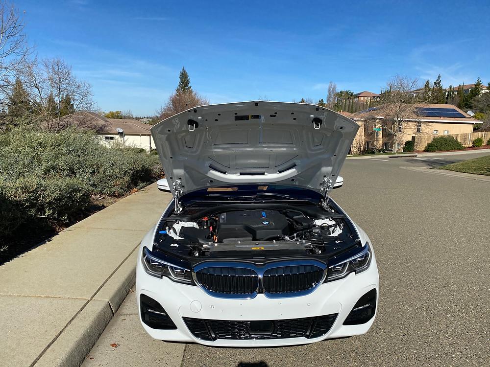 2021 BMW 330e hood up